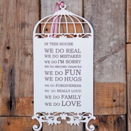 Wood - Birdcage with Quotes