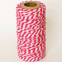 bright pink and white bakers twine