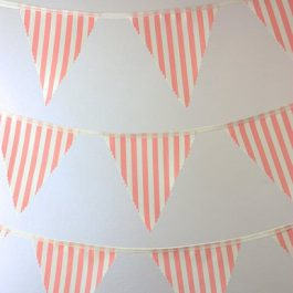 coral candy stripe bunting