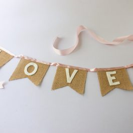 mini rustic love bunting