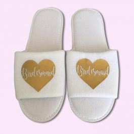 Bridesmaid Heart Wedding Slippers