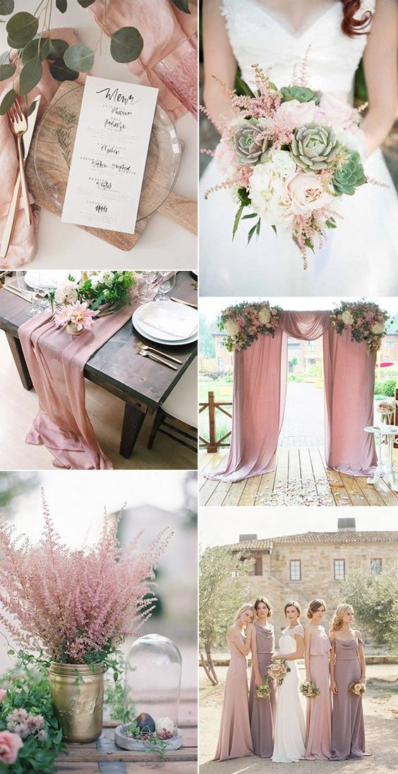 usty pink and green wedding colour theme 2018
