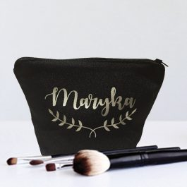 Personalised Name Black-Fern-Make-Up-Bag