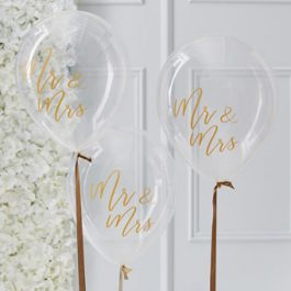 Clear Balloon with Gold Mr & Mrs