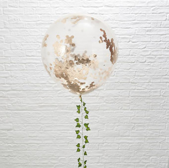 Clear Balloon with Rose Gold Confetti