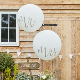 Giant White Mr & Mrs Balloons