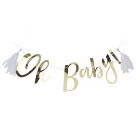 Oh Baby Gold Babyshower Bunting