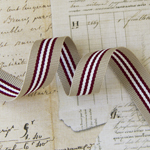 grey, maroon, cream ribbon