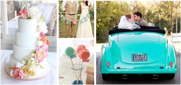 turquoise and coral wedding inspiration and ideas